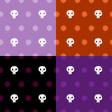 Seamless pattern halloween skull with polka dots four colour scheme Stock Photography
