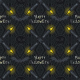 Seamless Pattern with Halloween symbols on black background. Vector Royalty Free Stock Photography