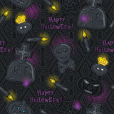 Seamless Pattern with Halloween symbols on black background Stock Photo