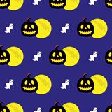 Seamless pattern with halloween symbols. stock illustration