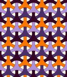 Seamless pattern in Halloween traditional colors with classic japanese ornament. Three pronged blocks tessellation. vector illustration