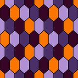 Seamless pattern in Halloween traditional colors with diamonds grid. Turtle shell motif. Honeycomb wallpaper. Repeated rhombuses and lozenges figures Royalty Free Stock Photos