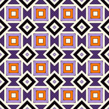 Seamless pattern in Halloween traditional colors. Repeated squares and rhombuses bright ornamental abstract background. Can be used for digital paper, textile Stock Photos
