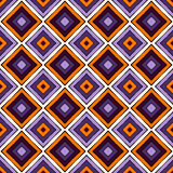 Seamless pattern in Halloween traditional colors. Repeated squares and rhombuses bright ornamental abstract background. Can be used for digital paper, textile Royalty Free Stock Photo