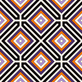 Seamless pattern in Halloween traditional colors. Repeated squares and rhombuses bright ornamental abstract background. Can be used for digital paper, textile Royalty Free Stock Images