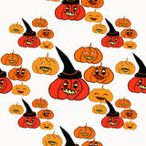 Seamless pattern for halloween witch hat, pumpkin evil. vector i Royalty Free Stock Photography