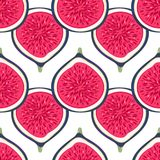 Seamless pattern with halves figs. Healthy dessert. Fruity repeating background. Hand drawn fruits. Exotic food. Wrapping, print on clothes, wallpaper, summer Stock Images