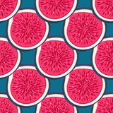 Seamless pattern with halves figs. Healthy dessert. Fruity repeating background. Hand drawn fruits. Exotic food. Wrapping, print on clothes, wallpaper, summer Royalty Free Stock Photo