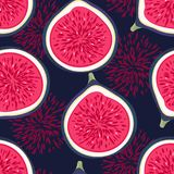 Seamless pattern with halves figs. Healthy dessert. Fruity repeating background. Hand drawn fruits. Exotic food. Wrapping, print on clothes, wallpaper, summer Stock Photo