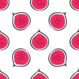 Seamless pattern with halves figs. Healthy dessert. Fruity repeating background. Hand drawn fruits. Exotic food. Wrapping, print on clothes, wallpaper, summer vector illustration
