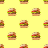 Seamless pattern with hamburger or burger Royalty Free Stock Photos