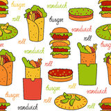 Seamless pattern with hamburger and rolls Stock Photos