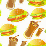 Seamless pattern with hamburger and soft drink Stock Photography