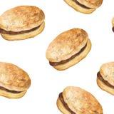 Seamless Pattern with Hamburgers. Fast Food Wallpaper. Hand drawn watercolor vector illustration