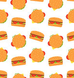Seamless Pattern with Hamburgers. Fast Food Wallpaper Royalty Free Stock Images
