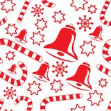 Seamless pattern with hand bells, candy canes Stock Photos