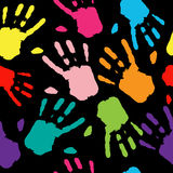 Seamless Pattern Hand Colorful Prints. Royalty Free Stock Image