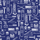 Seamless pattern of hand dawn barbershop equipment. Hand drawn lettering ink. Royalty Free Stock Photo