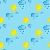 Seamless pattern with hand draw cloud and sun Royalty Free Stock Image