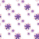 Seamless pattern with hand draw violet flowers Royalty Free Stock Photography