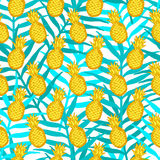 Seamless pattern from hand draw yellow pineapples on the green l Royalty Free Stock Photo