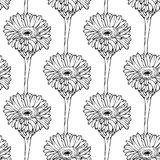 Seamless pattern with hand drawing black and white flowers Stock Photo