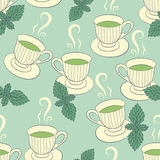 Seamless pattern with hand drawing cups and mint Stock Photo
