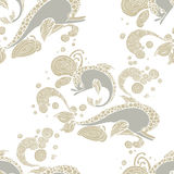 Seamless pattern with hand drawing dolphin doodle Royalty Free Stock Photography