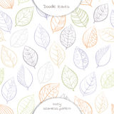 Seamless pattern of  hand drawing  leaves in white background. Vector illustration Stock Photo