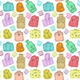 Seamless pattern with hand drawing luggage. Stock Photos