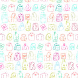 Seamless pattern with hand drawing luggage. Stock Photo