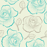 Seamless pattern with hand drawing roses. Pastel seamless pattern with hand drawing roses Stock Images