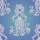 Seamless Pattern with Hand Drawing Silhouette of Goddess Royalty Free Stock Photography