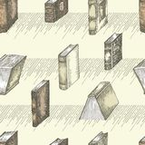 Seamless pattern with hand drawing sketch vintage books for concept design fair or festival flyer, paper, banner, school. Seamless pattern with hand drawing royalty free illustration