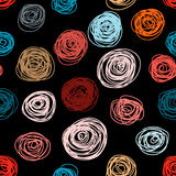 Seamless pattern of hand drawn abstract roses. Background ornament in vintage style Royalty Free Stock Photos