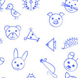Seamless pattern with hand drawn animals. Childish background illustration Royalty Free Stock Photo