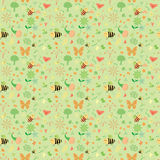 Seamless pattern with hand drawn animals and flowers stock illustration