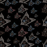 Seamless pattern with hand-drawn arrows on black background Royalty Free Stock Photo