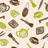 Seamless pattern with hand drawn asian tea culture objects. Teapot and other tools and equipment of tea ceremony. Vector sketch illustration Stock Images