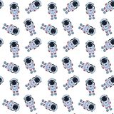 Seamless pattern with hand drawn astronauts. stock illustration