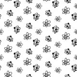 Seamless pattern Hand drawn atom doodle. Sketch Back to school, icon. Decoration element. Isolated on white background. Vector royalty free illustration