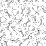 Seamless pattern with hand-drawn awards. Sketch icons of cup and trophy for first place. Prize for winner. Vector illustration Royalty Free Stock Photography