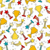 Seamless pattern with hand-drawn awards Stock Photo