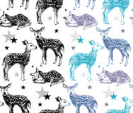 Seamless pattern with hand drawn baby deers in 2 color variations Royalty Free Stock Image