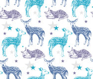 Seamless pattern with hand drawn baby deers Stock Photos