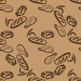 Seamless pattern Hand drawn bakery Stock Photos
