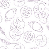 Seamless pattern with hand drawn bakery goods. Baking food. Culinary background Stock Photo