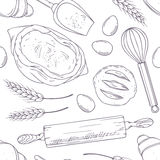 Seamless pattern with hand drawn bakery oblects in Stock Photos
