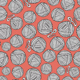 Seamless pattern with hand drawn balls of yarn on orange background. Background in cartoon style. Stock Images