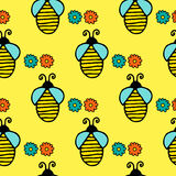 Seamless pattern with hand drawn bees Stock Images